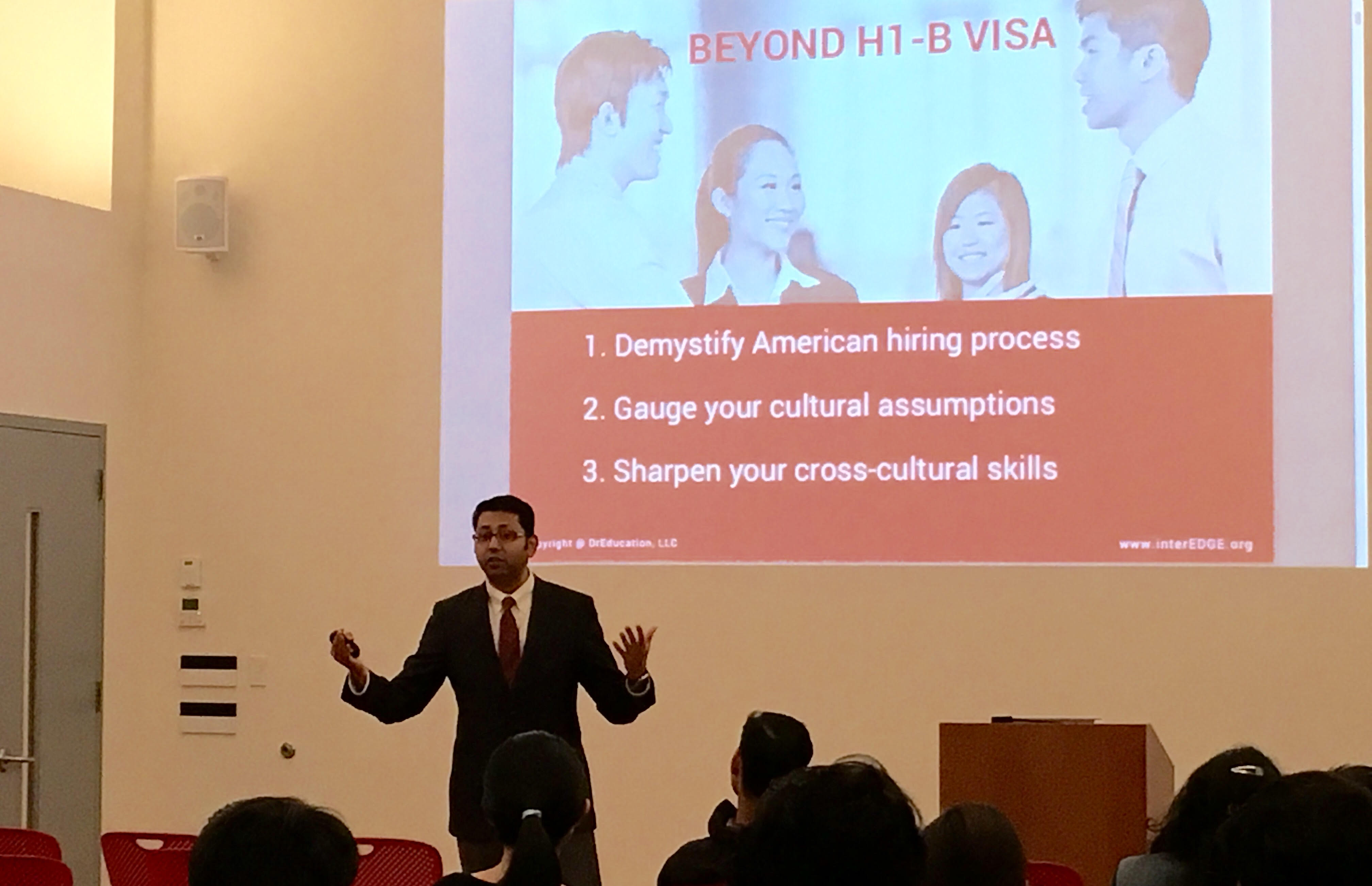interEDGE Co-founder Dr. Rahul Choudaha Speaks to international students at NYU