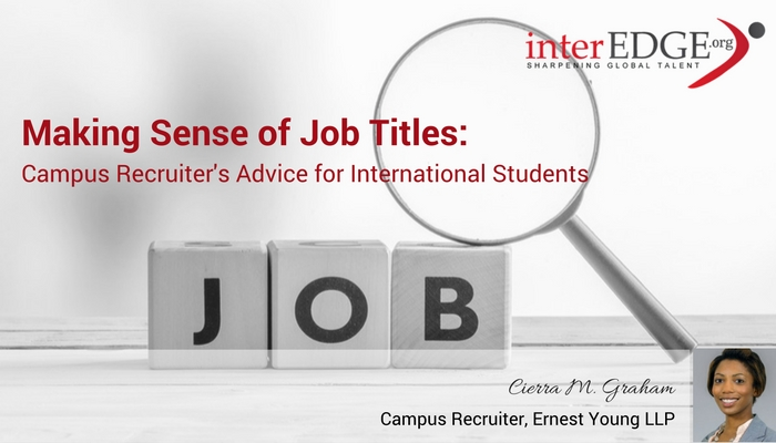 Making Sense of Job Titles: Campus Recruiter's Advice for ...